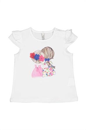 Grant Birba βρεφική μπλούζα με print και απλικέ λουλούδια