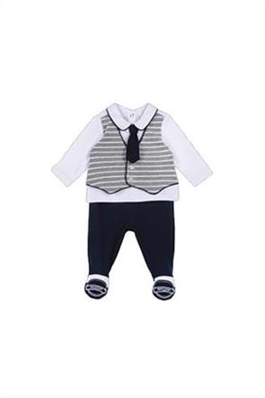 Grant Chicco παιδικό σετ πουκάμισο με ριγέ γιλέκο και μονόχρωμο κολάν (2 τεμάχια)