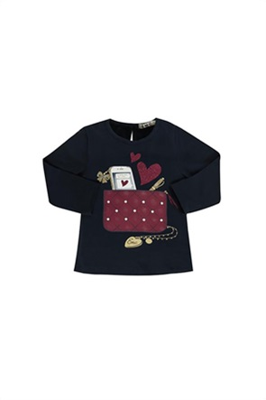 Grant EMC παιδική μπλούζα με print και διακοσμητικά στρας