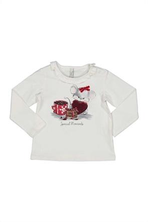 Grant Birba βρεφική μπλούζα με print και διακοσμητικό βολάν