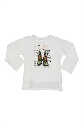 Grant TryBeyond παιδική μπλούζα με print και διακοσμητικές παγιέτες
