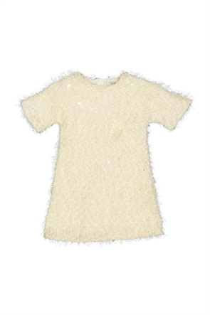 Grant TryBeyond παιδικό φόρεμα μονόχρωμο με κρόσσια και παγιέτες