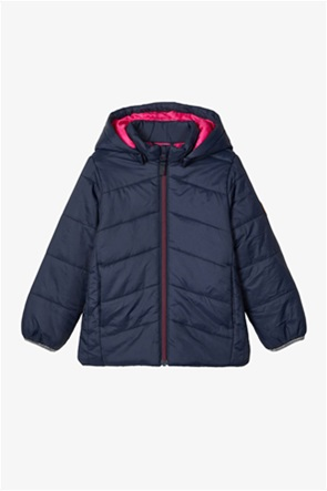 Name It παιδικό puffer jacket μονόχρωμο με αφαιρούμενη κουκούλα