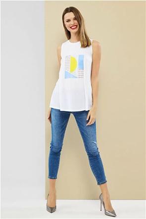 Forel γυναικεία μπλούζα αμάνικη με print και στρας