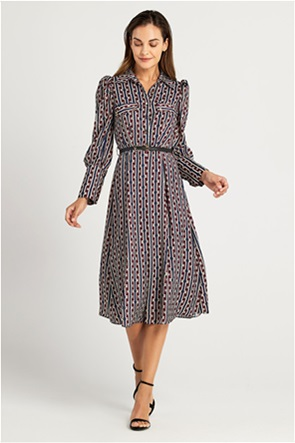 Forel γυναικείο midi φόρεμα σεμιζιέ με γιακά