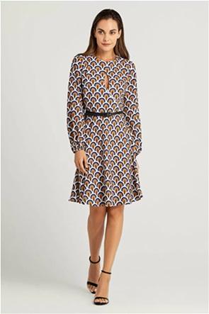Forel γυναικείο mini φόρεμα με all-over print και ζώνη