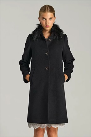 Forel γυναικείο παλτό με faux fur στο γιακά