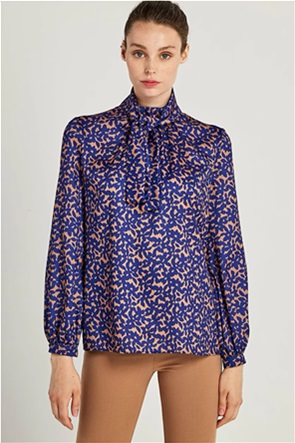 Forel γυναικεία μπλούζα floral με δέσιμο στο λαιμό