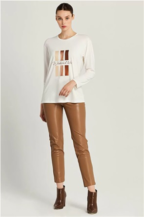 Forel γυναικεία μπλούζα με foil print και στρας
