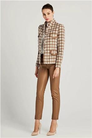 Forel γυναικείο σακάκι καρό με faux leather λεπτομέρειες