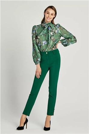 Forel γυναικείο παντελόνι μονόχρωμο με χρυσά κουμπιά Slim Fit