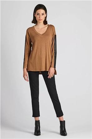 Forel γυναικείο παντελόνι cropped μονόχρωμο Straight Fit