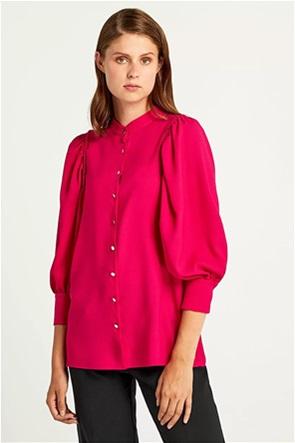 Forel γυναικείο πουκάμισο με πιέτες και μάο γιακά