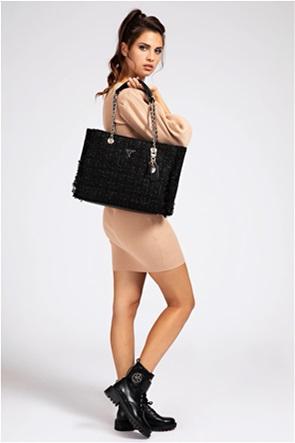 """Guess γυναικεία τσάντα ώμου tweed με μεταλλικό λογότυπο """"Cessily"""""""