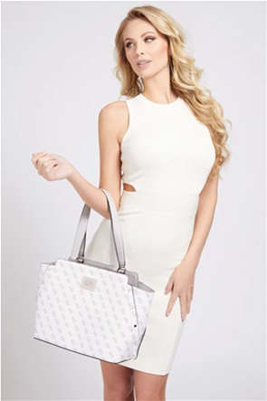 "Guess γυναικεία τσάντα ώμου με all-over logo print και τρουκς ""Tyren"""
