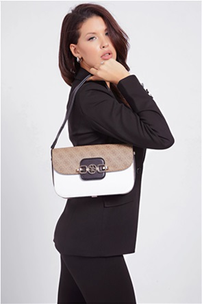 "Guess γυναικεία τσάντα ώμου με με all-over logo print στο πάνω μέρος ""Hensely"""