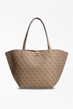 Guess γυναικεία τσάντα ώμου με all-over logo print και αποσπώμενο εσωτερικό τσαντάκι ''Alby''