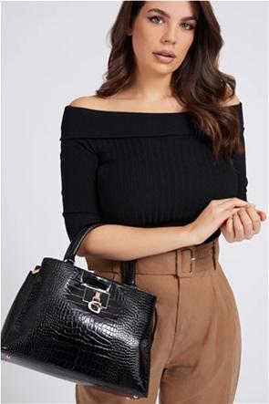 Guess γυναικεία τσάντα χειρός με croco print και μεταλλικό λογότυπο ''Carabel''
