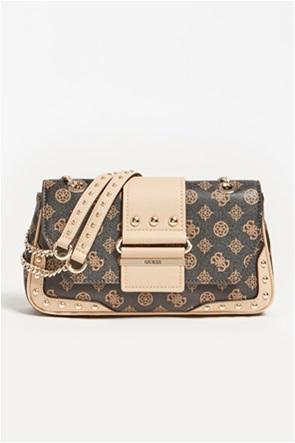 Guess γυναικεία τσάντα ώμου με all-over logo print και μεταλλικές λεπτομέρειες ''Greta''