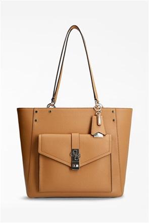 Guess γυναικεία τσάντα ώμου με μεταλλικό λογότυπο ''Albury''