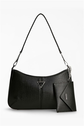 Guess γυναικεία τσάντα ώμου με μεταλλικό λογότυπο και αποσπώμενο πορτοφόλι ''Layla''