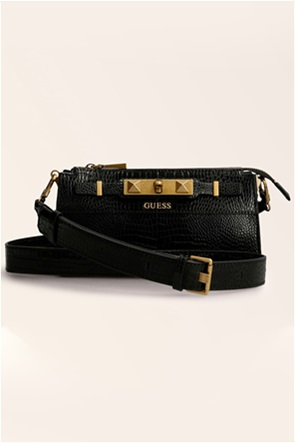 Guess γυναικεία τσάντα crossbody με croco σχέδιο και μεταλλικές λεπτομέρειες ''Raffie''
