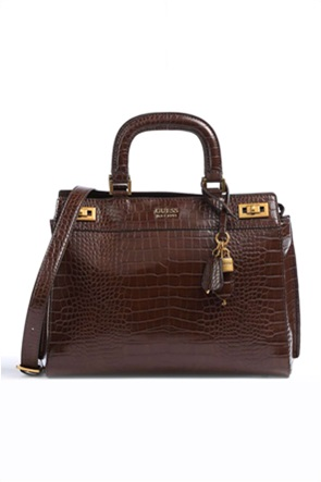 Guess γυναικεία τσάντα χειρός με croco σχέδιο και μεταλλικές λεπτομέρειες ''Katey''
