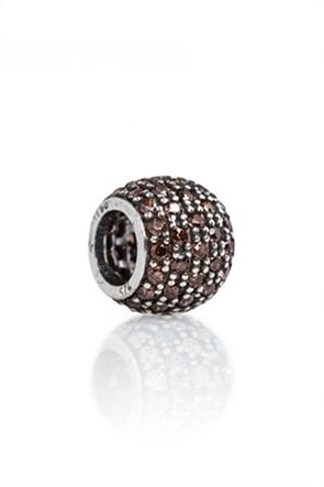 Tedora ασημένιο στρογγυλό charm με ζιργκόν Bronze Paved Diamonds
