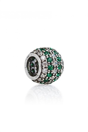 Tedora ασημένιο στρογγυλό charm με ζιργκόν Green/White Paved Diamonds
