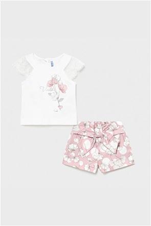 Mayoral βρεφικό σετ μπλούζα με print και floral σορτς (9-36 μηνών)