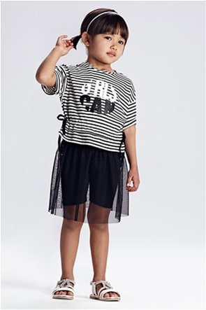 Mayoral παιδικό σετ ρούχων μπλούζα ριγέ και κολάν με τούλι (3-9 ετών)