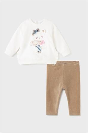 Mayoral παιδικό σετ ρούχων μπλούζα φούτερ και κοτλέ κολάν (6-36 μηνών)