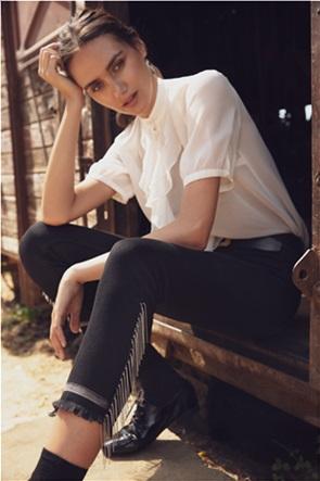 Sarah Lawrence Jeans γυναικείο τζην παντελόνι cropped με μεταλλικά κρόσσια
