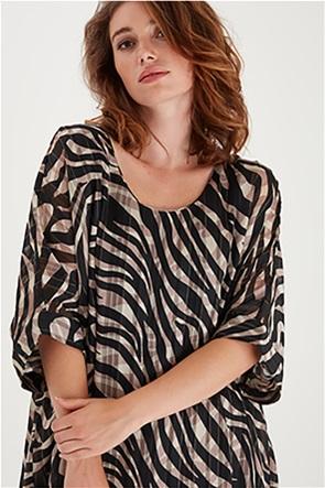 Fransa γυναικεία μπλούζα με animal print και ασύμμετρο τελείωμα