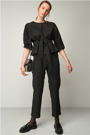 Black & Black γυναικεία μπλούζα με ζώνη στη μέση