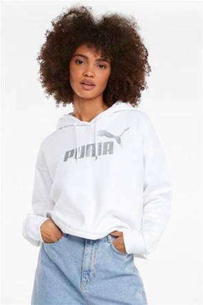 "Puma γυναικείο φούτερ  cropped metallic logo ""Essentials"""