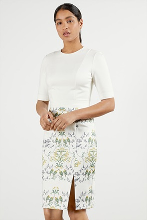 "Ted Baker γυναικείο midi φόρεμα με floral τελείωμα ""Popina Papyrus"""