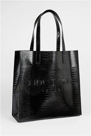 Ted Baker γυναικεία τσάντα ώμου με all-over croco print και ανάγλυφο λογότυπο ''Croccon''