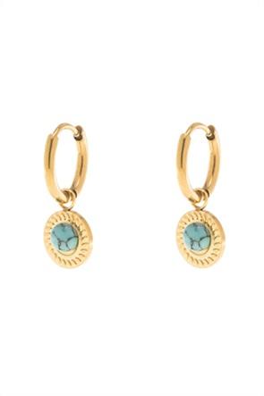 The Fashion Desk γυναικεία σκουλαρίκια με εγχάρακτη πέτρα