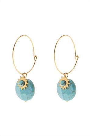 The Fashion Desk γυναικεία σκουλαρίκια κρίκοι με πέτρα