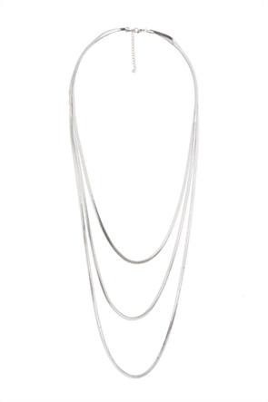 The Fashion Desk γυναικείo κολιέ μακρύ με τριπλή αλυσίδα επιχρυσωμένο 60,5 cm
