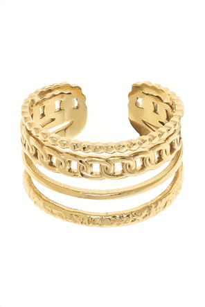 "The Fashion Desk γυναικείo δαχτυλίδι με σχέδιο αλυσίδα επιχρυσωμένο ""Chain Reaction"""