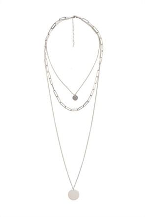 The Fashion Desk γυναικείo κολιέ με τριπλή αλυσίδα και μενταγιόν επιχρυσωμένο 36.5 cm