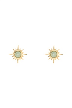 The Fashion Desk γυναικεία σκουλαρίκια σε σχήμα ήλιου με πέτρα