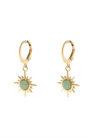 The Fashion Desk γυναικεία σκουλαρίκια κρίκοι με σχήμα ήλιου