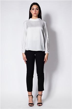 Lucifair γυναικεία μπλούζα σατέν με διακοσμητικά κουμπιά