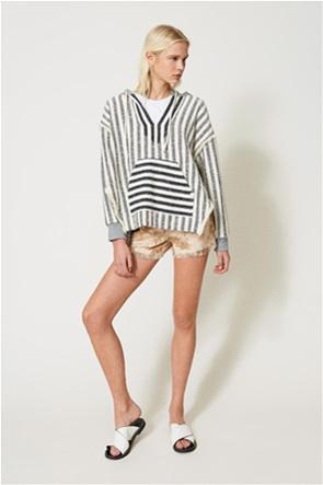 Twinset γυναικείο φούτερ με κουκούλα και ριγέ σχέδιο