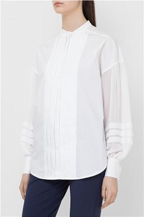 Twinset γυναικείo πουκάμισο μονόχρωμο με πλισέ λεπτομέρειες