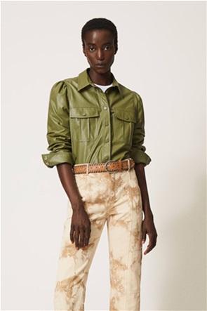 Twinset γυναικείο πουκάμισο μακρυμάνικο με leather όψη και flap τσέπες