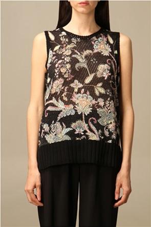 Twinset γυναικεία πλεκτή μπλούζα αμάνικη με floral σχέδιο